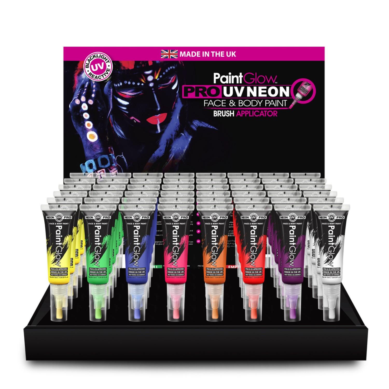 Pro Neon UV sejas un ķermeņa krāsa PAINTGLOW, ar otu