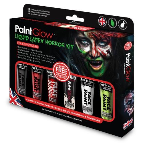 Helovīnu efektu komplekts Nr.5  PAINTGLOW, sejas krāsas, mākslīgās asinis, lateks